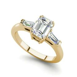 Baguette Accents 3.25 Ct VS2D Emerald Cut Diamond Engagement Ring Yellow Gold