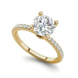 Micropave 2.25 Carat VVS2F Round Cut Diamond Engagement Ring Yellow Gold