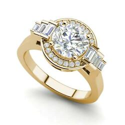 Halo Solitaire 2.55 Carat VS2F Round Cut Diamond Engagement Ring Yellow Gold