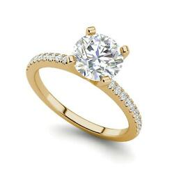 French Pave 2.25 Carat VVS2F Round Cut Diamond Engagement Ring Yellow Gold