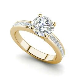 Channel Set 3.45 Carat VS1F Round Cut Diamond Engagement Ring Yellow Gold