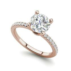 Micropave 2.25 Carat VVS2F Round Cut Diamond Engagement Ring Rose Gold