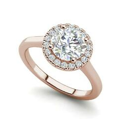 Pave Halo 3.15 Carat VS1F Round Cut Diamond Engagement Ring Rose Gold