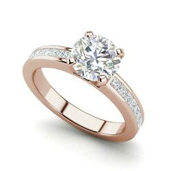 Channel Set 3.45 Carat VS1F Round Cut Diamond Engagement Ring Rose Gold