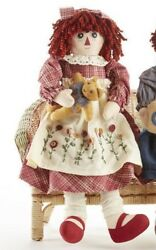 NEW Primitive Country Rustic Rag Doll W Embroidered Flower Apron amp; Teddy Bear $24.99