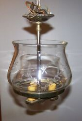 Antique Hanging Light Fixture Etched Glass Globe Ground Edges Three Brass Look $49.95