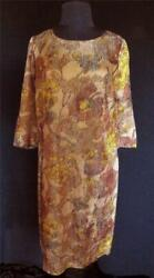 RARE FRENCH VINTAGE 1960#x27;S WOVEN SILK METALLIC MUTED FLORAL DRESS SIZE 12 $114.75