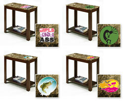 End Table Espresso Cappuccino Faux Marble Wood Night Stand Novelty Theme Decal $139.88