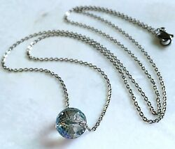 Single Crystal Bead Necklace-Faceted Iridescent Turquoise--Stainless Steel Chain