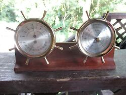 SWIFT  INSTRUMENT SHIPS WHEEL DESK  BRASS  WOOD  THERMOMETER  HUMIDITY BAROMETER $40.00