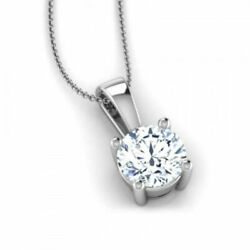 2.50 CT ROUND CUT F SI2 DIAMOND PENDANT WITH 14K WHITE GOLD NECKLACE ANNIVERSARY
