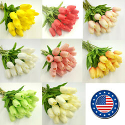 US 10 head Real Touch Artificial Tulip Fake Flower Wedding Home amp; Party Decor $10.99