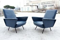 Splendid mid century Pair Lounge chairs by Marco Zanuso Gio Ponti italy 1950s