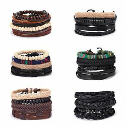 Mother's Day Women Punk Multilayer Leather Bracelet Wristband Bangle Jewelry Set