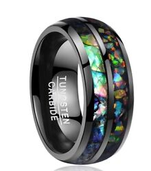 Men's Multi-Color Shell Opal Tungsten Carbide Wedding Fashion Jewelry Rings
