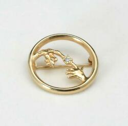 Vintage Avon ET Fingers Touching Gold Ton Pin Brooch Extra Terrestrial Signed