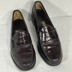Men's SEBAGO 10 A PLUM CORDOVAN LEATHER SLIP-On CLASSIC PENNY LOAFERS HAND SEWN