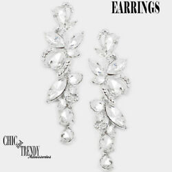 HIGH END GLASS CLEAR CRYSTAL CHUNKY CHANDELIER EARRINGS WEDDING FORMAL JEWELRY $12.99