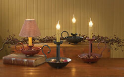 Primitive Country Black Red Iron 6 1 2quot; 10 1 2quot; amp; 13quot; Chamberstick Candle Lamp $39.99