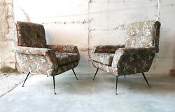 MID CENTURY PAIR CURVE LOUNGE CHAIRS by  MARCO ZANUSO GIO PONTI 1950s