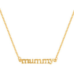 14K Meghan Markle Yellow Gold Platinum Over Sterling Silver MUMMY Chain Necklace