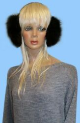 NEW GENUINE BLACK FOX FUR EARMUFFS one size fits all $44.95