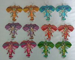 Elephant Multi Colored Wooden Earrings 6 Colors To Choose From 3-12