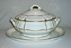 ROSENTHAL~ Antique White Porc. 30 Oz GRAVY BOAT wBasketweave+Gold Accents- GER