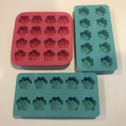 Set 3 Silicone Ice Cube Molds Trays Paw Prints Floral Party Food Jelly Chocolate