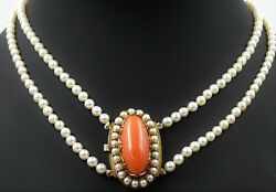 VINTAGE AKOYA Pearl NECKLACE with 14ct Yellow Gold Pearl & Red Coral Clasp