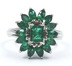 Gorgeous HANDMADE Ladies VINTAGE 18ct White Gold & NATURAL Emerald Cluster Ring