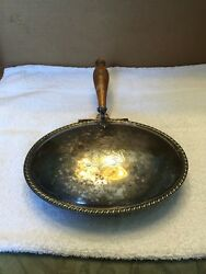 Vintage Silver Plated Silent Butler With Hinged Lid And Wooden Handle