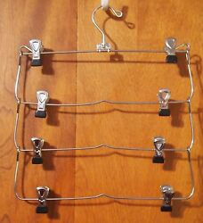 CASCADING CHROME SKIRT HANGERS 4 TIERS with clips $12.95