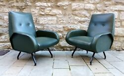 Splendid mid century Pair Lounge chairs by Marco Zanuso  italy 1950s