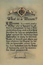 Antique Masonic What is a Mason?art print poster ring AF&AM or F&AM Art