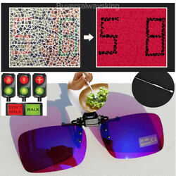 Colorful Blue Foldable Clip Colorblindness Glasses For Red Green Color Blind Man $23.99