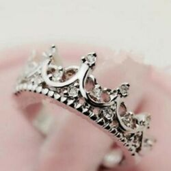 New 925 Sterling Silver Crown Ring Band Fashion Jewelry Couple Ring Size 6-7-8-9