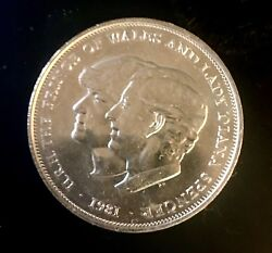 1981 Silver Princess Diana and Prince of Wales Wedding Commemorative Crown Coin $20.00