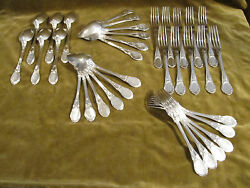 19th c french sterling silver dessert cutlery set 34p rococo medallions 1700g