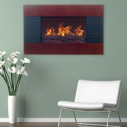 Brown 35quot; Electric Wall Mount Hang Fireplace Heater Home Living Room Furniture $265.00