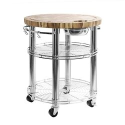 Seville Classics Rolling Solid Acacia Butcher Block Top Kitchen Island Cart