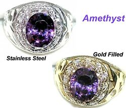 Men#x27;s 11x9mm Ring You pick size setting and stone #31513 February BirthStone $32.50