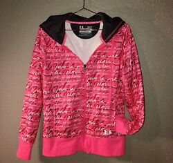 Under Armour Storm Womens Full Zip Hoodie Breast Cancer Pink She's A Fighter~S