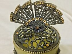 "WELFORTH JEWELED PEWTER AMBER JEWELRY FOOTED FAN DESIGN TRINKET BOX(3.0""X 2.75"")"
