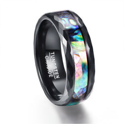 Multi-Colored Abalone Shell Tungsten Carbide Mens Wedding Fashion Jewelry Rings