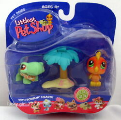 NIB Littlest Pet Shop LONG RETIRED 2004 PARROT & TURTLE #119 #120 FREE SHIPPING