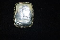 Hand Painted on Mother of Pearl Winter Forest Scene Brooch from Russia $36.00