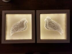 2 White Cherub Angel Fairy Wings In Wall Boxed Frame Lighted Display Cabinets