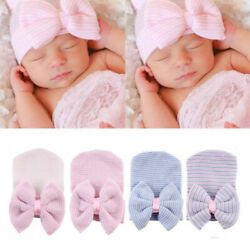 Newborn Baby Hats Cotton Beanie With Bow Soft Knit Striped Infant Hospital Caps