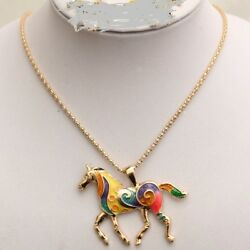 High Quality Silver Plated Multicolor Horse Pendant Necklace